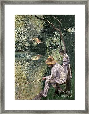 Angling Framed Print by Gustave Caillebotte