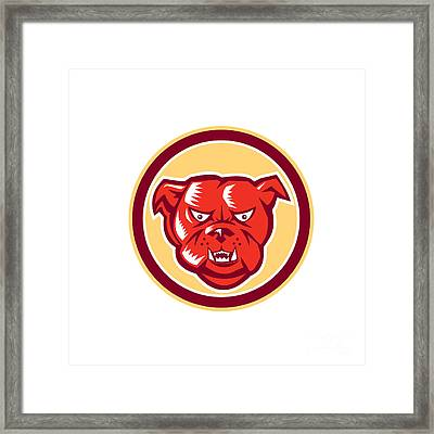 Angry Bulldog Mongrel Head Circle Retro Framed Print by Aloysius Patrimonio