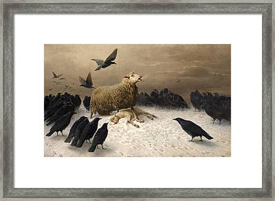 Anguish Framed Print by August Friedrich Schenck