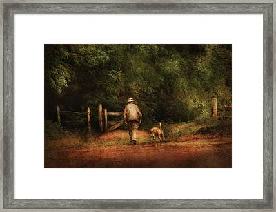 Animal - Dog - A Man And His Best Friend Framed Print by Mike Savad