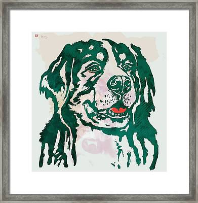 Animal Pop Art Etching Poster - Dog - 1 Framed Print by Kim Wang