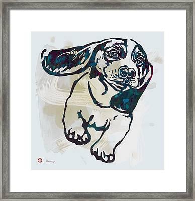 Animal Pop Art Etching Poster - Dog - 10 Framed Print by Kim Wang