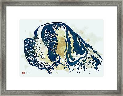 Animal Pop Art Etching Poster - Dog - 3 Framed Print by Kim Wang