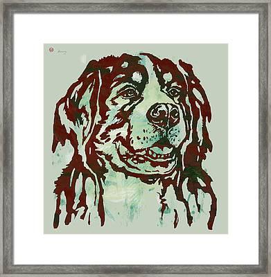 Animal Pop Art Etching Poster - Dog Framed Print by Kim Wang