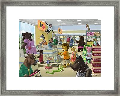 Animal Supermarket Framed Print by Martin Davey