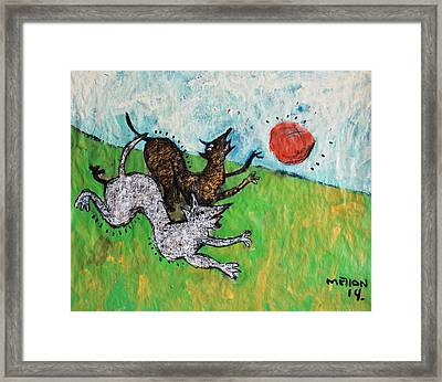 Animalia Dogs Playing In A Field  Framed Print by Mark M  Mellon