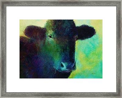 animals - cows- Black Cow Framed Print by Ann Powell