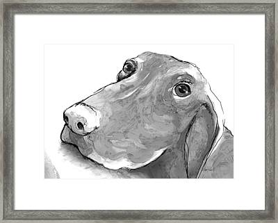 animals - dogs - Feed Me Please Framed Print by Ann Powell