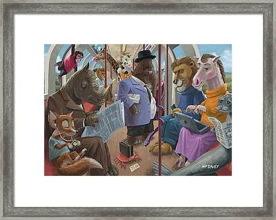 Animals On A Tube Train Subway Commute To Work Framed Print by Martin Davey