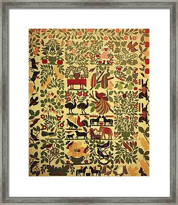 Animals On Applique Framed Print by Artist Unknown