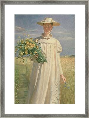 Anna Ancher Returning From Flower Picking, 1902 Framed Print by Michael Peter Ancher