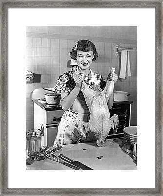 Anne Shirley And Her Turkey Framed Print by Underwood Archives