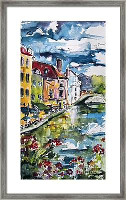 Annecy Canal And Swans France Watercolor Framed Print by Ginette Callaway