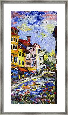 Annecy France Canal And Bistros Impressionism Knife Oil Painting Framed Print by Ginette Callaway