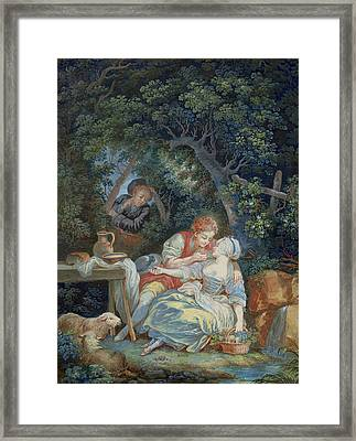 Annette And Lubin  Framed Print by Pierre Antoine Baudouin
