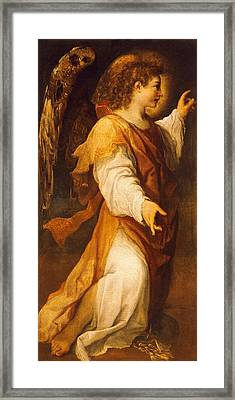 Announcing Angel Framed Print by Annibale Carracci
