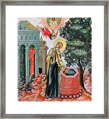 Annunciation At The Fountain Framed Print by Russian School