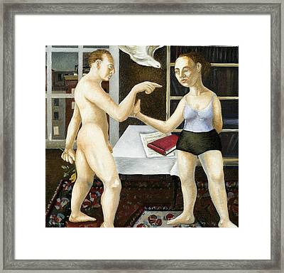 Annunciation Interior With Table Framed Print by Caroline Jennings