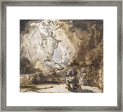 Annunciation To The Shepherds Framed Print by Rembrandt