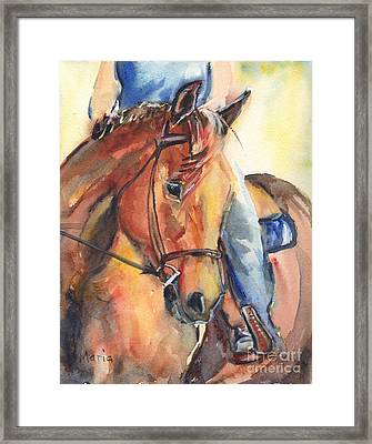 Horse In Watercolor Another Sunrise Framed Print by Maria's Watercolor