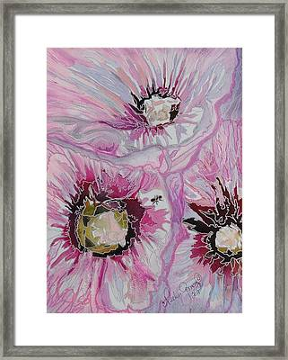 Ant Exploring Hollyhock Framed Print by Jo Anne Neely Gomez