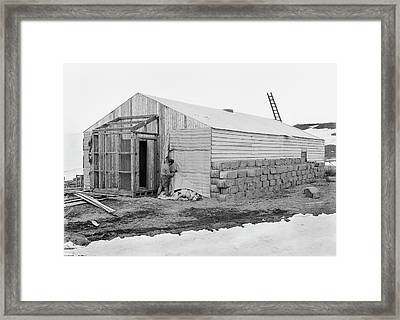 Antarctic Base Camp Construction Framed Print by Scott Polar Research Institute