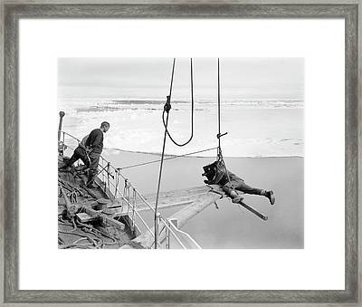 Antarctic Filming On Terra Nova Framed Print by Scott Polar Research Institute