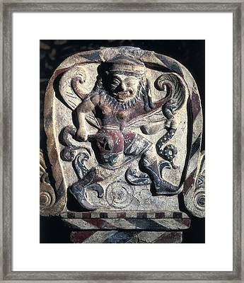 Antefix With A Masked Dancer. 4th C Framed Print by Everett