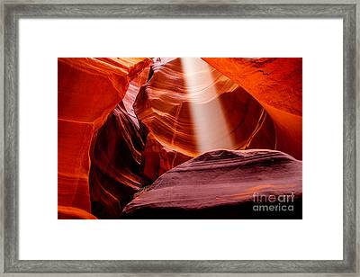 Antelope Canyon Beam Framed Print by Az Jackson