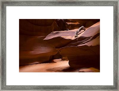 Antelope Canyon Hike Framed Print by Michael J Bauer