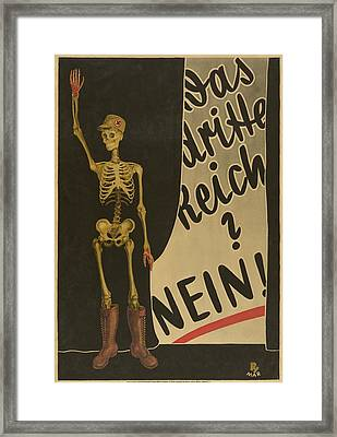 Anti-nazi Poster, Ca. 1930 Depicts Framed Print by Everett