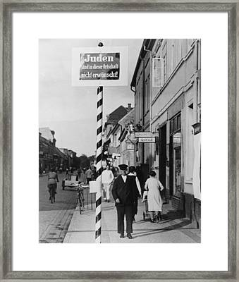 Anti-semitic Message In A Schwedt Framed Print by Everett