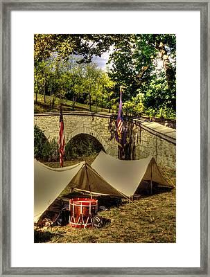 Antietam - 8th Connecticut Volunteer Infantry-a1 Encampment Near The Foot Of Burnsides Bridge Framed Print by Michael Mazaika