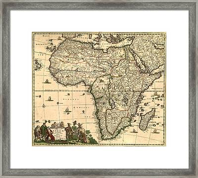 Antique Africa Map Framed Print by Gary Grayson