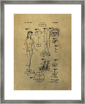 Antique Barbie Doll Patent Framed Print by Dan Sproul