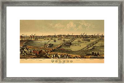 Antique Bird's-eye View Map Of Toledo Ohio 1876 Framed Print by Mountain Dreams