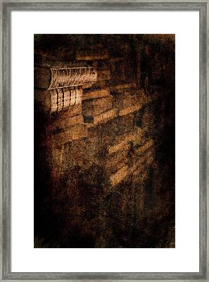 Antique Books On Dusty Book Shelves Framed Print by Loriental Photography