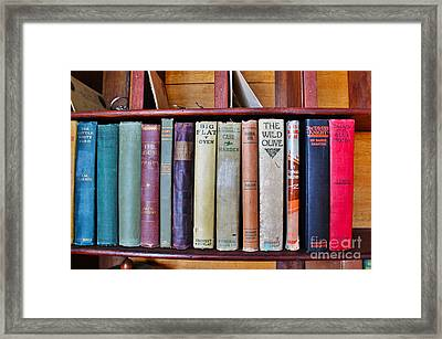 Antique Books On Shelf From 1860 Framed Print by Janice Rae Pariza