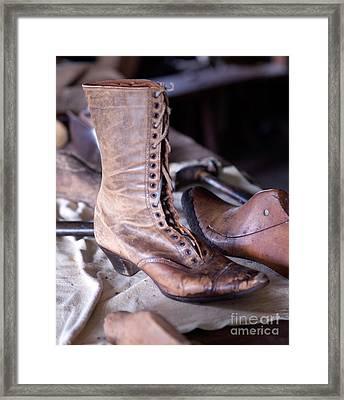Antique Boot Framed Print by Iris Richardson