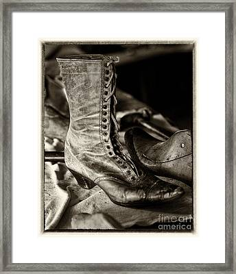 Antique Boot Sepia Framed Print by Iris Richardson