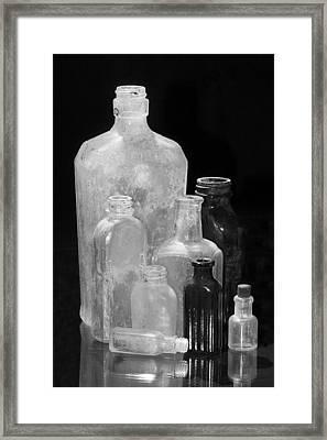 Antique Bottles 4 Black And White Framed Print by Phyllis Denton