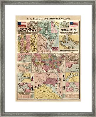 Antique Civil War Map By Egbert L. Viele - Circa 1861 Framed Print by Blue Monocle
