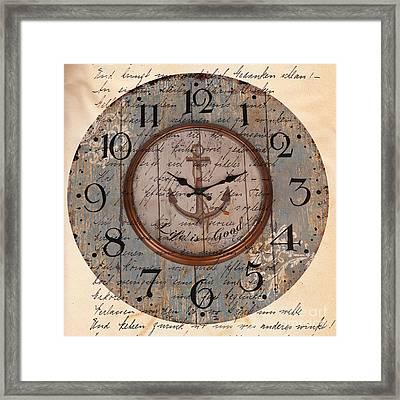Antique Clock Anchor Vintage Wallpaper Framed Print by Art World