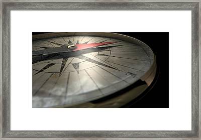 Antique Compass Closeup Framed Print by Allan Swart