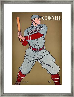 Antique Cornell Baseball Poster 1908 Framed Print by Mountain Dreams