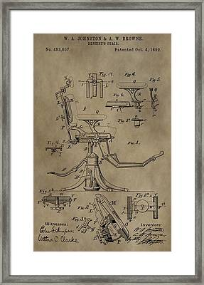 Antique Dental Chair Patent Framed Print by Dan Sproul
