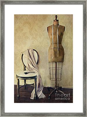 Antique Dress Form And Chair With Vintage Feeling Framed Print by Sandra Cunningham