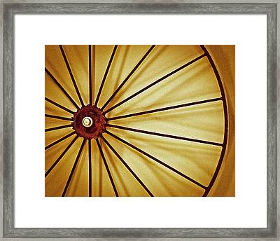 Antique Farm Wheel Framed Print by Carolyn Marshall