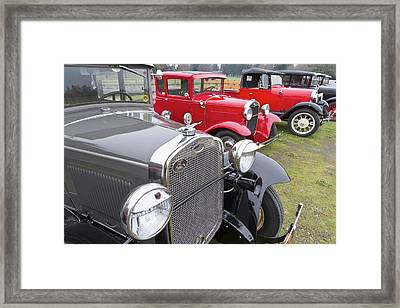 Antique Ford Automobiles At Ft Framed Print by William Sutton