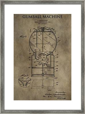 Antique Gumball Machine Patent Framed Print by Dan Sproul